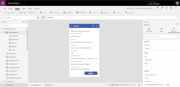 PowerApps button integration